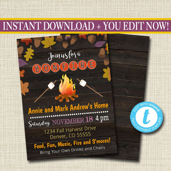 Fall Harvest Bonfire Invitation Family Picnic BBQ Invite EDITABLE Printable Chili Cookoff Smores Party Fundraising Event