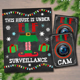 Printable This House is Under Elf Surveillance Art, Christmas Decor, Printable Wall Art, INSTANT DOWNLOAD, Elf Ideas, Elf Cam, Holiday Art