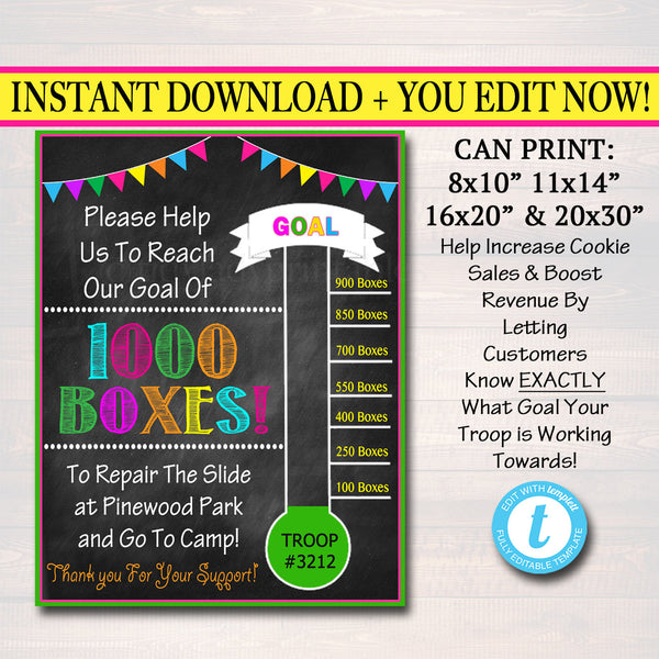 Fundraiser Goal Poster, Cookie Booth Sign,  School Team Fundraiser Goal, Scout Printable,  Cookie Banner