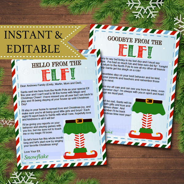 EDITABLE Elf Letters, Hello Elf, Goodbye Elf, Notes from the Elf, Naughty or Nice Behavior Santa North Pole Printables INSTANT DOWNLOAD