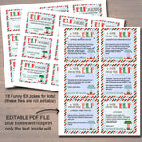 EDITABLE Elf Jokes and Notes from the Elf, Elf Letters, Elf Report Card Naughty or Nice Behavior Santa North Pole Printable INSTANT DOWNLOAD