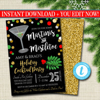 EDITABLE Martinis and Mistletoe Invitation Christmas Party Invite, Holiday Party Adult Cocktail Party, Holiday Ugly Sweater Digital Invite