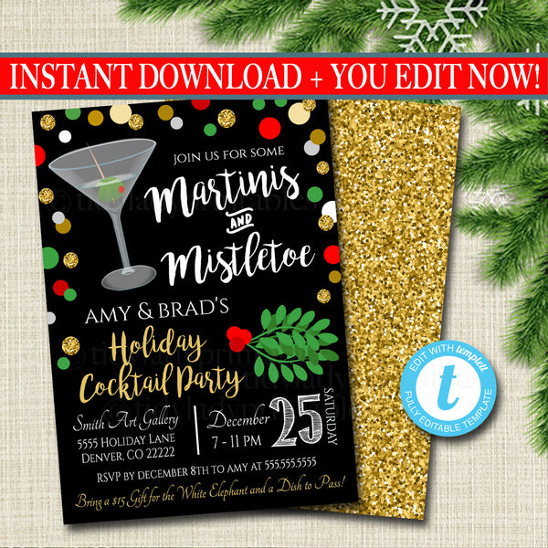Martinis and Mistletoe Invitation Christmas Party Invite, Holiday Party Adult Cocktail Party, Holiday Ugly Sweater  Invite