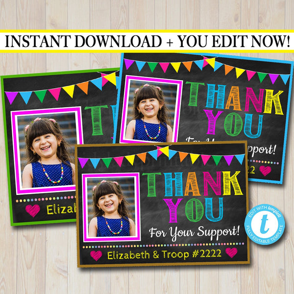 Photo Thank You Note,  Printable Thank You Card Template, Cookie Receipt Product Delivery Thank You Troop Printable
