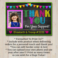 EDITABLE Photo Thank You Note, INSTANT DOWNLOAD Printable Thank You Card Template, Cookie Receipt Product Delivery Thank You Troop Printable