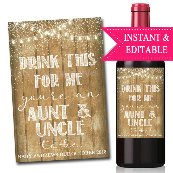 Drink This For Me You're An Aunt & Uncle To Be, Digital Wine Label Pregnancy Announcement, In-laws, Friends, Brother Sister Pregnancy Reveal