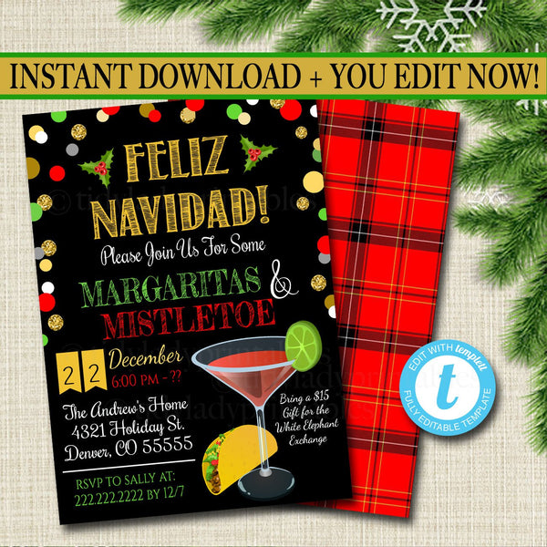 Margaritas and Mistletoe Invitation Christmas Party Invite, Holiday Party Adult Christmas Party Holiday Ugly Sweater  Invite