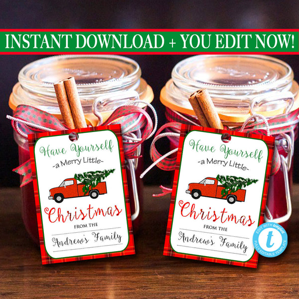 Christmas Tags, Red Truck Holiday Tags, Custom Christmas Labels, Retro Plaid Christmas Card, Plaid Flannel Vintage Christmas Labels