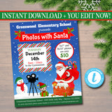 EDITABLE Photos with Santa Flyer, Breakfast with Santa Invitation, Kids Christmas Party Invitation, Printable Community Holiday Event Flyer