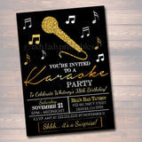 EDITABLE Adult Karaoke Party Invitation, Birthday Invitation, DIY Digital Invite, Black & Gold Party Invitation, Karaoke Party Singing Party