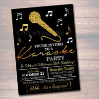 EDITABLE Adult Karaoke Party Invitation, Birthday Invitation Digital Photo Invite, Black & Gold Party Invitation Karaoke Party Singing Party