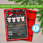 EDITABLE Christmas Baby Shower Party Invitation, Christmas Invite, Gender Reveal Holiday Invite, Santa Baby! Couples Shower INSTANT DOWNLOAD
