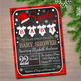 Christmas Baby Shower Party Invitation, Christmas Invite, Gender Reveal Holiday Invite, Santa Baby! Couples Shower