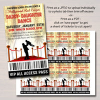 Daddy Daughter Dance Set School Dance Flyer Invitation Hollywood Red Carpet Event Church Community Event, pto, pta