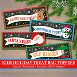 Kid's Christmas Treat Bag Toppers, Printable Holiday Food Tags, INSTANT DOWNLOAD, Stocking Stuffers, Kids Christmas Eve, Teacher Class Gifts
