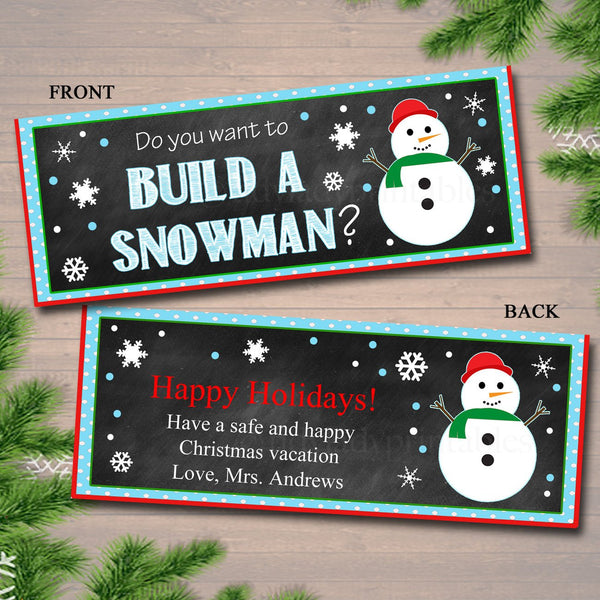 EDITABLE Snowman Bag Toppers, Printable Build a Snowman Tags, INSTANT DOWNLOAD, Christmas Bag Toppers, Hot Cocoa Bag Topper, Teacher Gifts