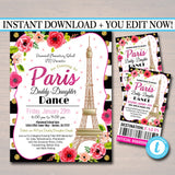EDITABLE Daddy Daughter Dance Set School Dance Flyer Digital Invite, An Evening in Paris,  Church Community Event, pto, pta INSTANT DOWNLOAD