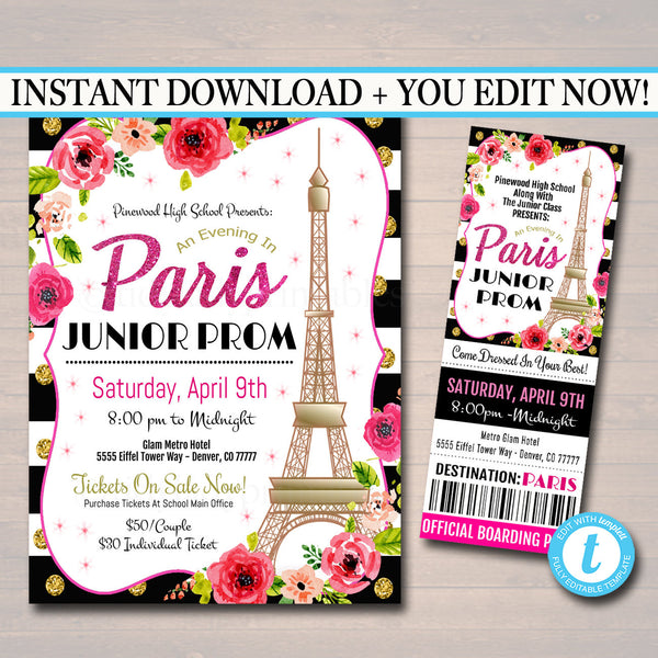 Prom Ticket/Flyer Set School Dance Flyer  Invite, An Evening in Paris, High School Dance Event, pto, pta