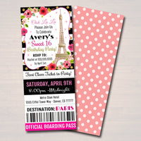 EDITABLE Paris Ticket Party Invitation, Birthday Party, Girl Sweet 16 Sixteen, Printable Digital Template Invite, Oh La La, INSTANT DOWNLOAD