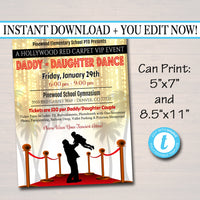 EDITABLE Daddy Daughter Dance Set School Dance Flyer Invitation Hollywood Red Carpet Event Church Community Event, pto, pta INSTANT DOWNLOAD