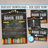 EDITABLE Book Fair Flyer Matching Directional Signs, Printable School Fundraiser Template, Church Community Event, pto, pta INSTANT DOWNLOAD