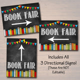 Book Fair Flyer With Matching Directional Signs - Editable Template