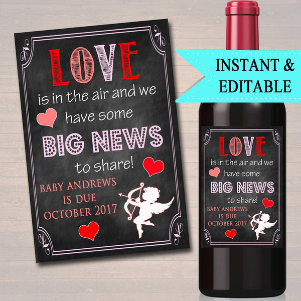 EDITABLE Valentines Day Wine Label Love is in The Air & We Have Big News to Share Printable Valentine Pregnancy Announcement New Baby Reveal
