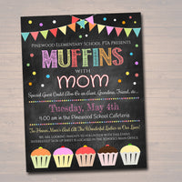 EDITABLE Muffins With Mom Invite, Printable PTA Flyer, Mother's Day Brunch Event, School Mom Appreciation Fundraiser Digital Invitation