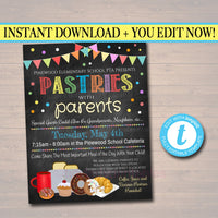 Pastries With Parents, Printable PTA Flyer, School Breakfast Parent Appreciation Fundraiser Open House Printable  Invitation