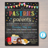 Pastries With Parents Event Invite - School Breakfast Parent Appreciation Fundraiser Open House - DIY Editable Template