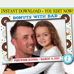 EDITABLE Donut Party Photo Frame, Photo Booth Prop, Donuts With Dad, Kid's Donut Birthday Party, INSTANT DOWNLOAD Template, Pto School Event