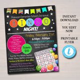 Bingo Night Flyer, Printable PTA, PTO Flyer, School Family Fundraiser Event, Community Center, Church Printable  Invitation