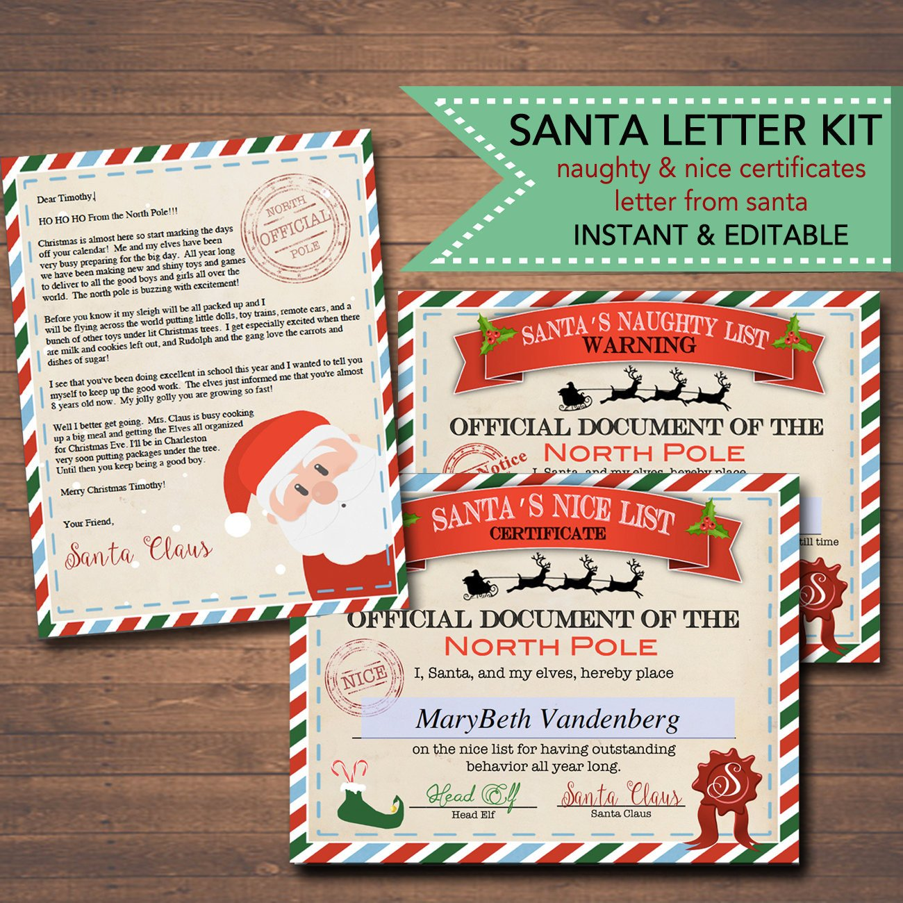 Nice Naughty Certificates Tidylady Printables