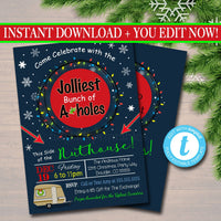 EDITABLE Christmas Party Invitation, Ugly Sweater Party Invitation, Christmas Vacation, Jolliest Bunch of A-holes this Side of the Nuthouse