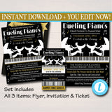 EDITABLE Dueling Pianos Benefit Fundraiser Invitation/Flyer/Ticket Set Digital Invite, Concert Invitation, Pto School Event INSTANT DOWNLOAD