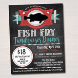 EDITABLE Fish Fry Flyer, Printable PTA PTO Flyer, Benefit Fundraiser Event Poster, Church Benefit, Lent Friday Fish Fry Printable Invitation
