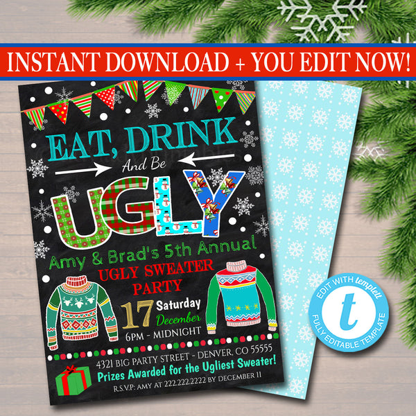 Ugly Sweater Party Invitation, Christmas Party Invitation Holiday Eat, Drink & Be Ugly Christmas Party, Holiday Ugly Sweater Invite
