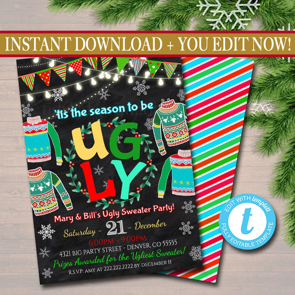 EDITABLE Ugly Sweater Party Invitation, Christmas Party Invitation Holiday Eat, Drink & Be Ugly Christmas Party, Holiday Ugly Sweater Invite