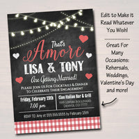 EDITABLE That's Amore Invitation, Wedding Rehearsal Engagement Announcement Digital Invite, Italian Dinner Party Valentine's Party Printable