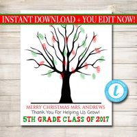 EDITABLE Teacher Gift CUSTOM Printable Class Xmas Thumbprint Art Teacher Thumbprint Tree Poster, Christmas Gift, Holiday Teacher Class Gifts