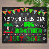 Christmas Big Brother Pregnancy Announcement, Printable Chalkboard Photo Prop, Xmas Pregancy Reveal, Merry Christmas To Me Sibling Xmas Sign