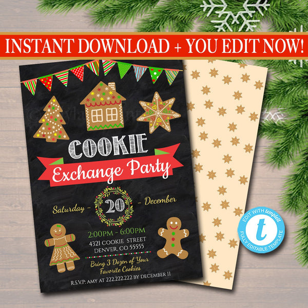 Christmas Cookie Exchange Invitation, Cookie Swap, Christmas Cookie Decorating Party Invitation, Christmas Party Holiday Invite