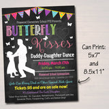Daddy Daughter Dance Set School Dance Flyer Party Invitation, Butterfly Kisses, Church Community Event, pto, pta,