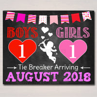 Valentines Tie Breaker Pregnancy Announcement, Printable Chalkboard Poster Sibling Pregancy Reveal Expecting Third Child Photo Prop