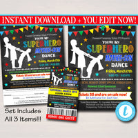 Mother Son School Dance Set, Dance Flyer Party Superhero Invitation, Fundraiser Church Community Event, pto, pta,