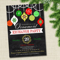 Ornament Exchange Party Invitation Xmas Bridal Shower Invite, Bachelorette Party Holiday Invite, Dirta Santa Party