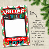 Printable Ugly Sweater Photo Booth Prop, Selfie Station Grab a Prop Christmas Decor, Printable Art INSTANT DOWNLOAD Xmas Ugly Sweater Party
