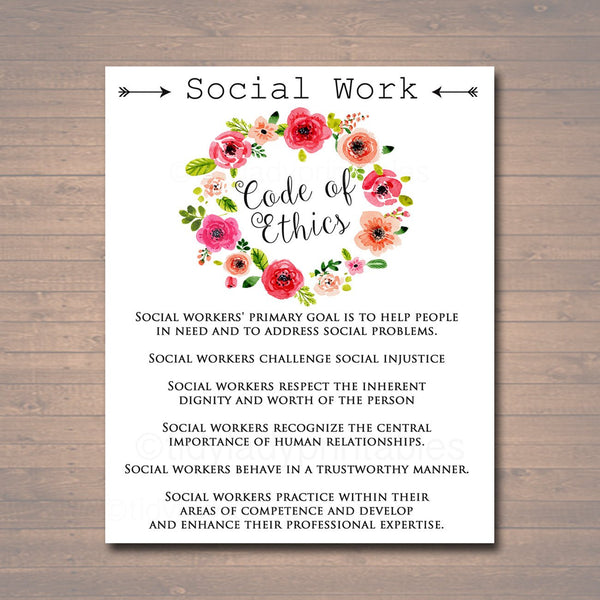 Social Work Code Of Ethics, Social Worker Gift, Social Worker Office Decor Printable Wall Art INSTANT DOWNLOAD, Digital Social Worker Poster