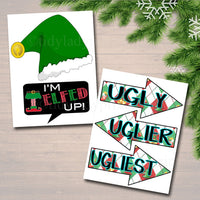Printable Ugly Sweater Photo Booth Props, Selfie Station Grab a Prop Christmas Decor, Printable Art INSTANT DOWNLOAD Xmas Ugly Sweater Party