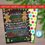 EDITABLE Gender Reveal Party Invitation, Christmas Invite, Cookie Baby Shower, What the Elf is it Going to Be, Santa Baby, INSTANT DOWNLOAD